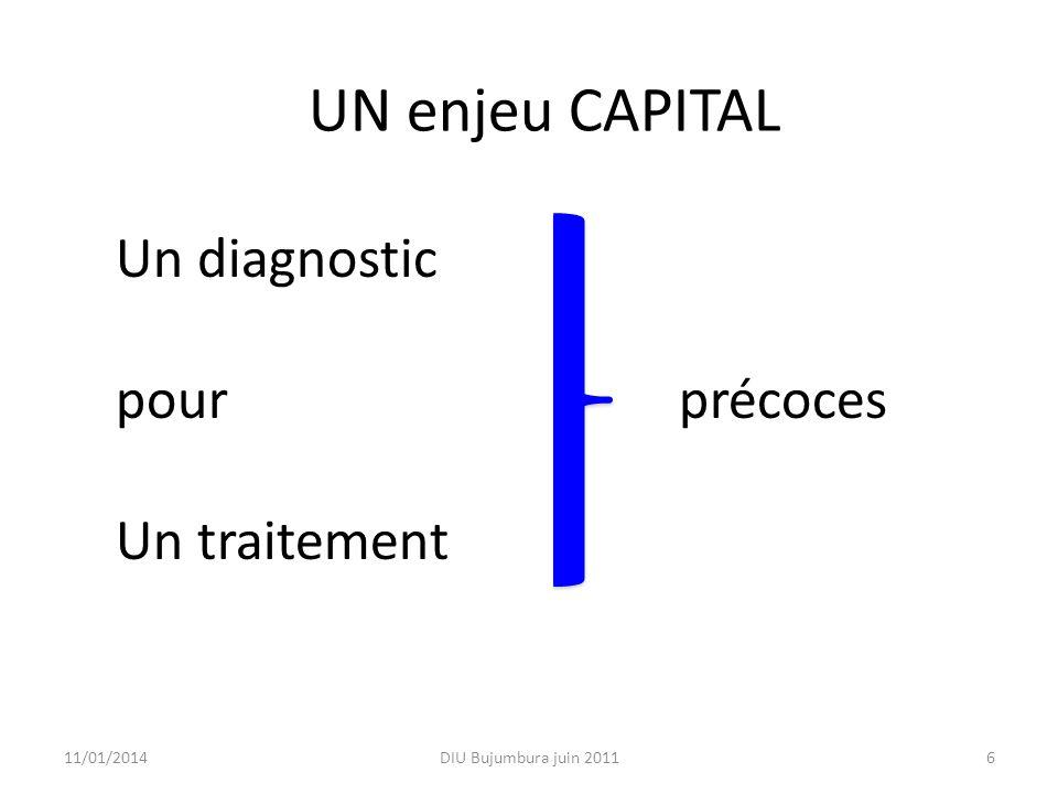 UN enjeu CAPITAL Un diagnostic pour précoces Un traitement 26/03/2017