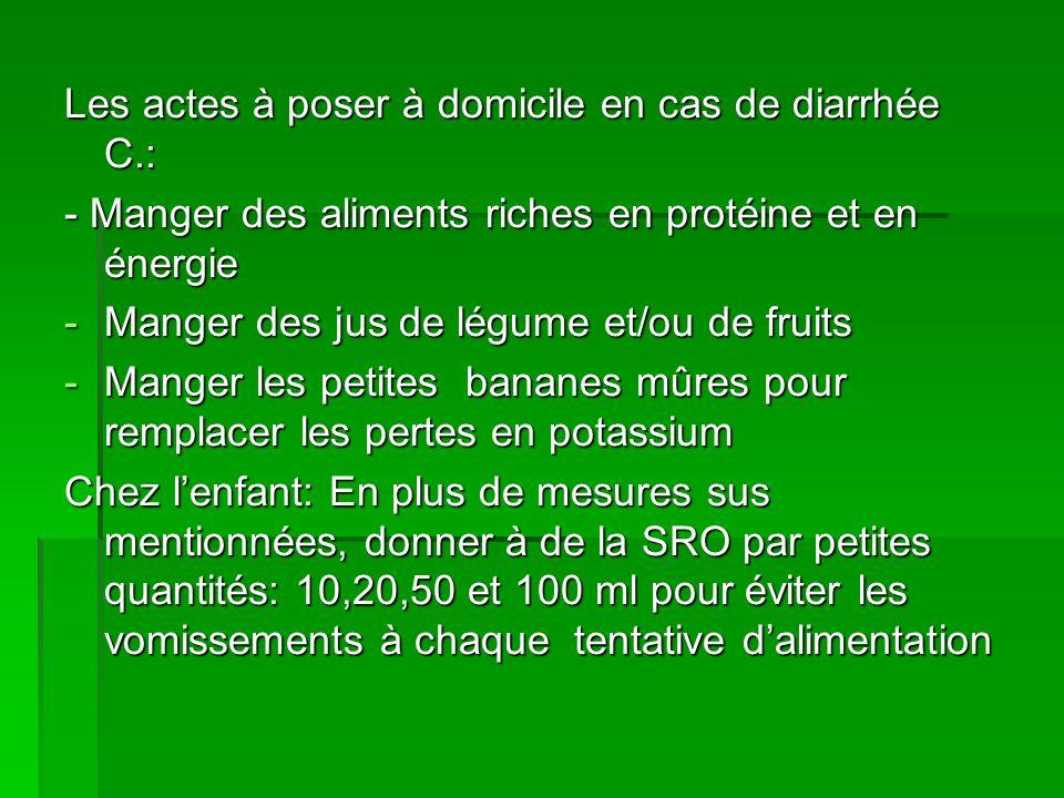 Les actes à poser à domicile en cas de diarrhée C.: