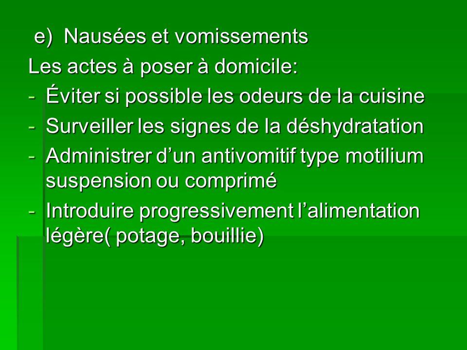 e) Nausées et vomissements