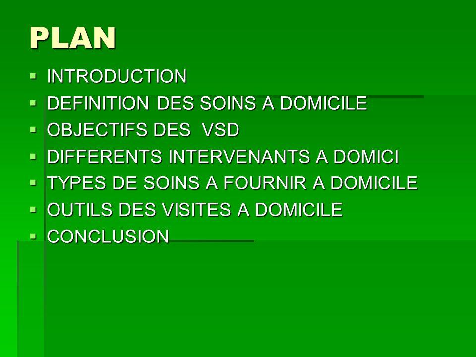 PLAN INTRODUCTION DEFINITION DES SOINS A DOMICILE OBJECTIFS DES VSD