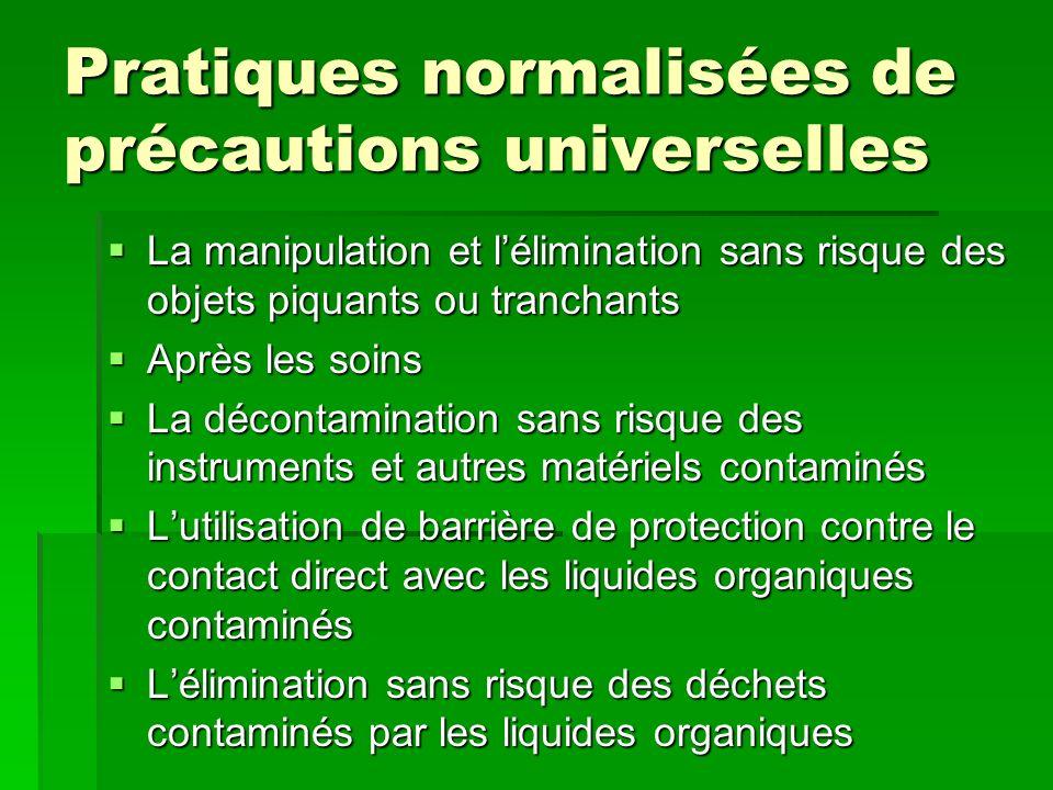 Pratiques normalisées de précautions universelles