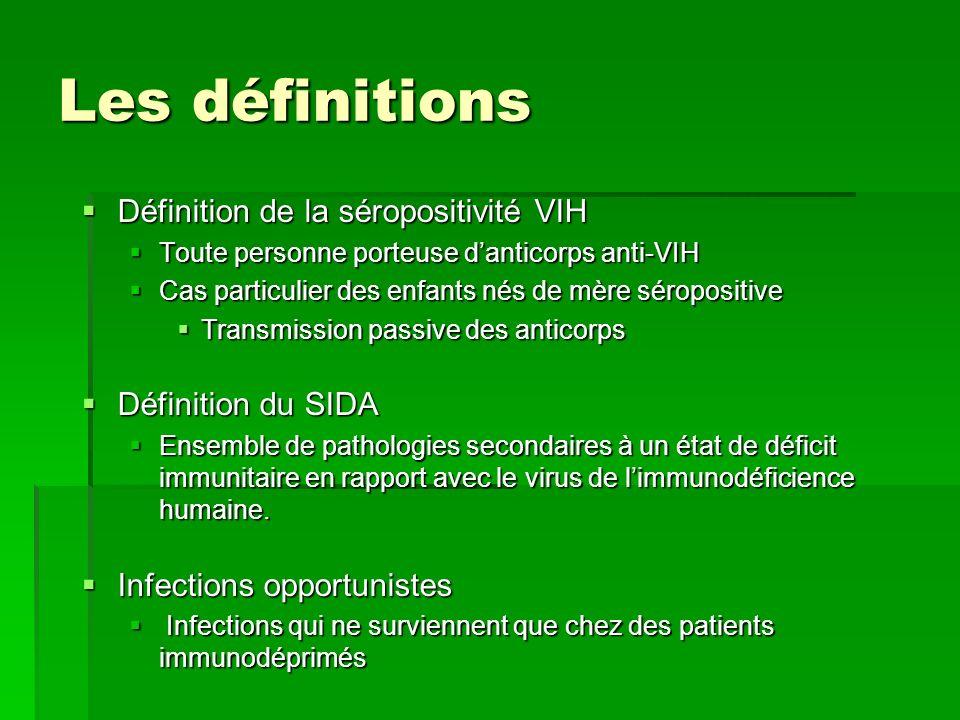 Les définitions Définition de la séropositivité VIH Définition du SIDA