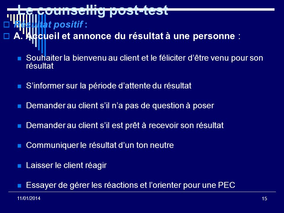 Le counsellig post-test