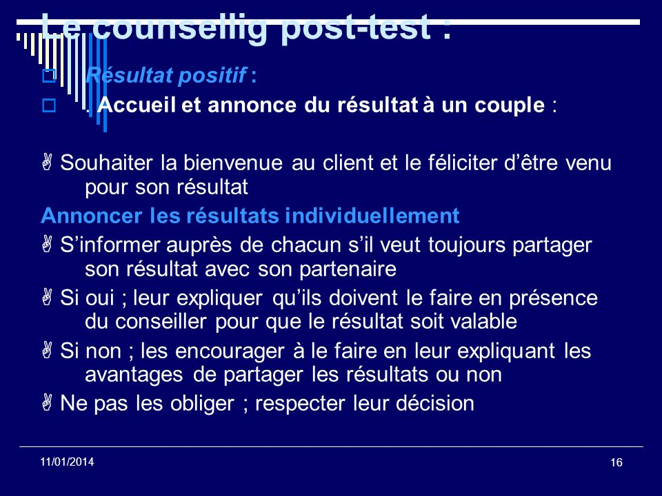 Le counsellig post-test :