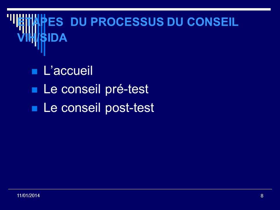 ETAPES DU PROCESSUS DU CONSEIL VIH/SIDA