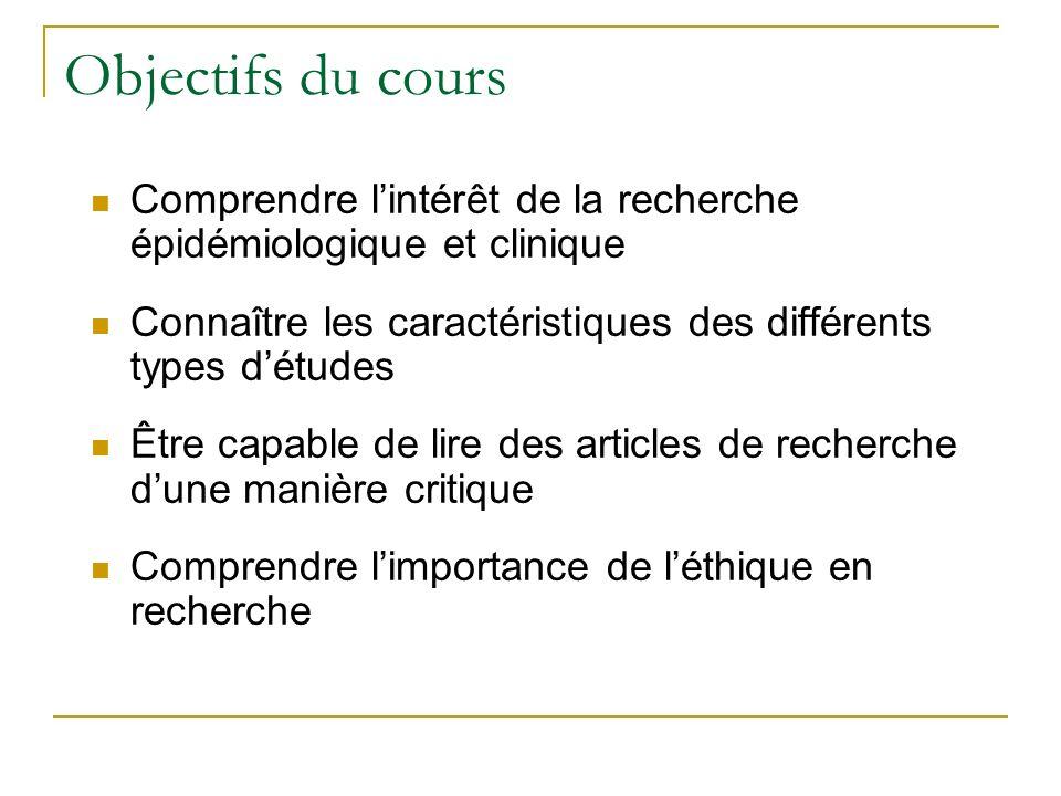 Objectifs du cours Comprendre l'intérêt de la recherche épidémiologique et clinique. Connaître les caractéristiques des différents types d'études.