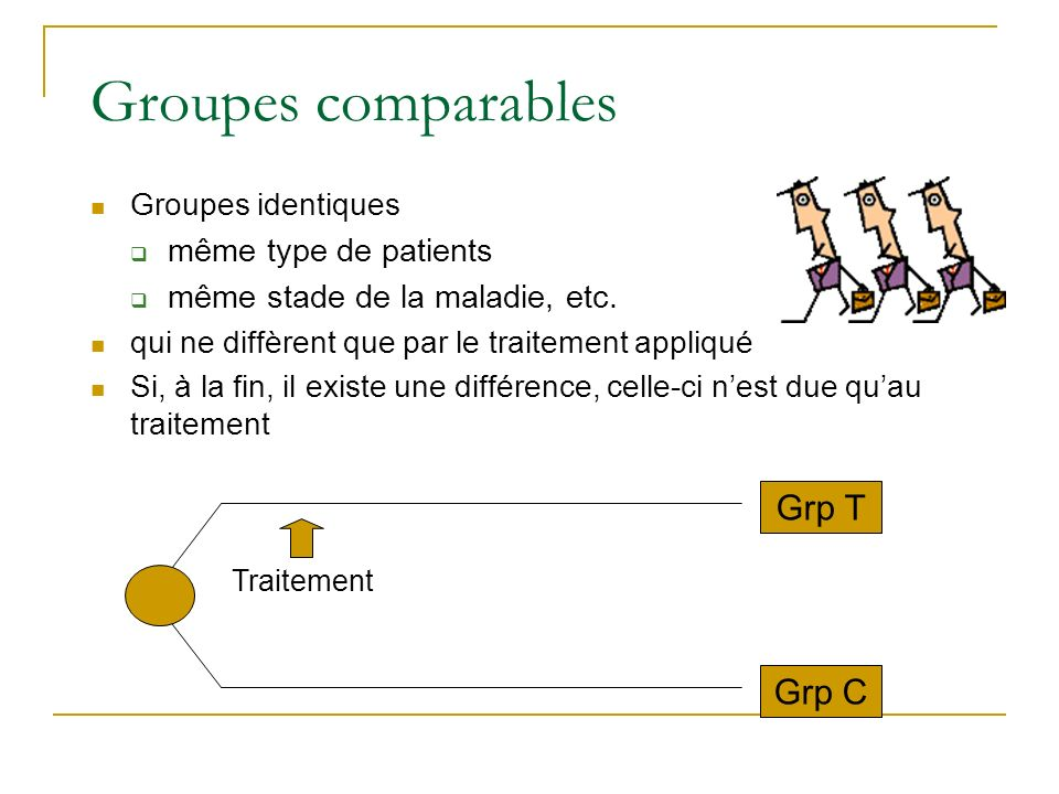 Groupes comparables Grp T Grp C même type de patients
