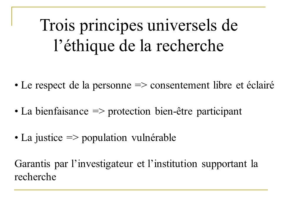 Trois principes universels de l'éthique de la recherche