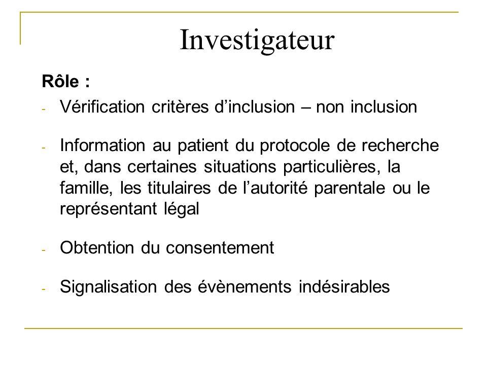 Investigateur Rôle : Vérification critères d'inclusion – non inclusion