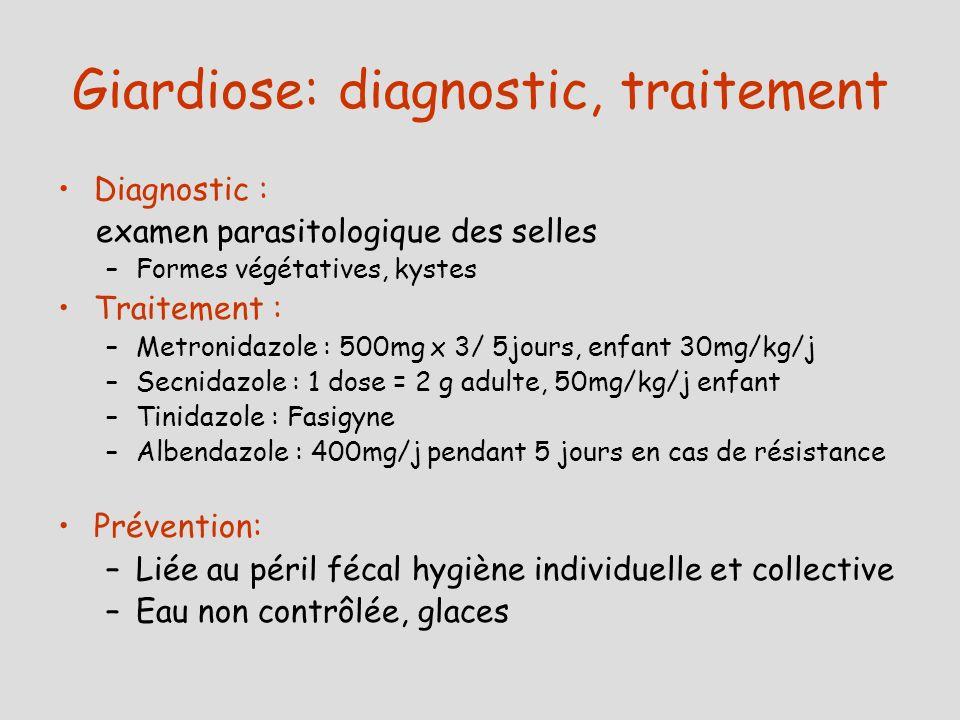Giardiose: diagnostic, traitement