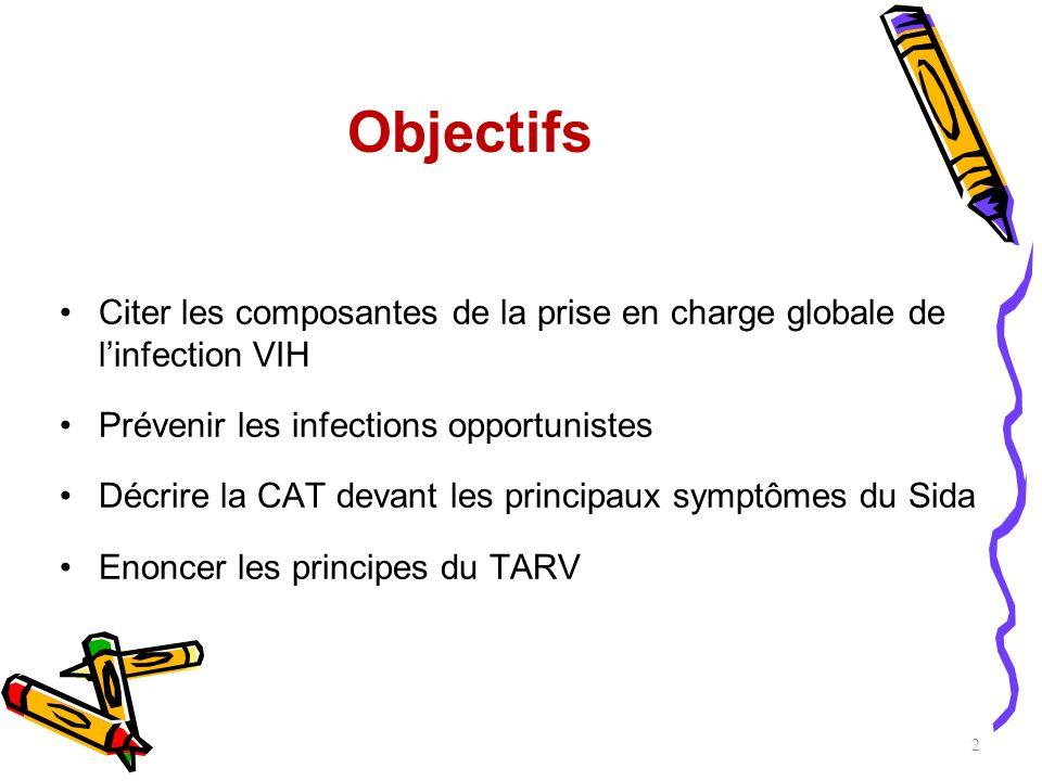 Objectifs Citer les composantes de la prise en charge globale de l'infection VIH. Prévenir les infections opportunistes.