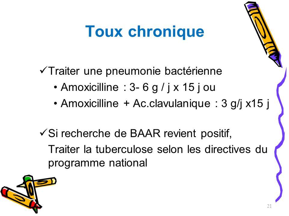 Toux chronique Traiter une pneumonie bactérienne