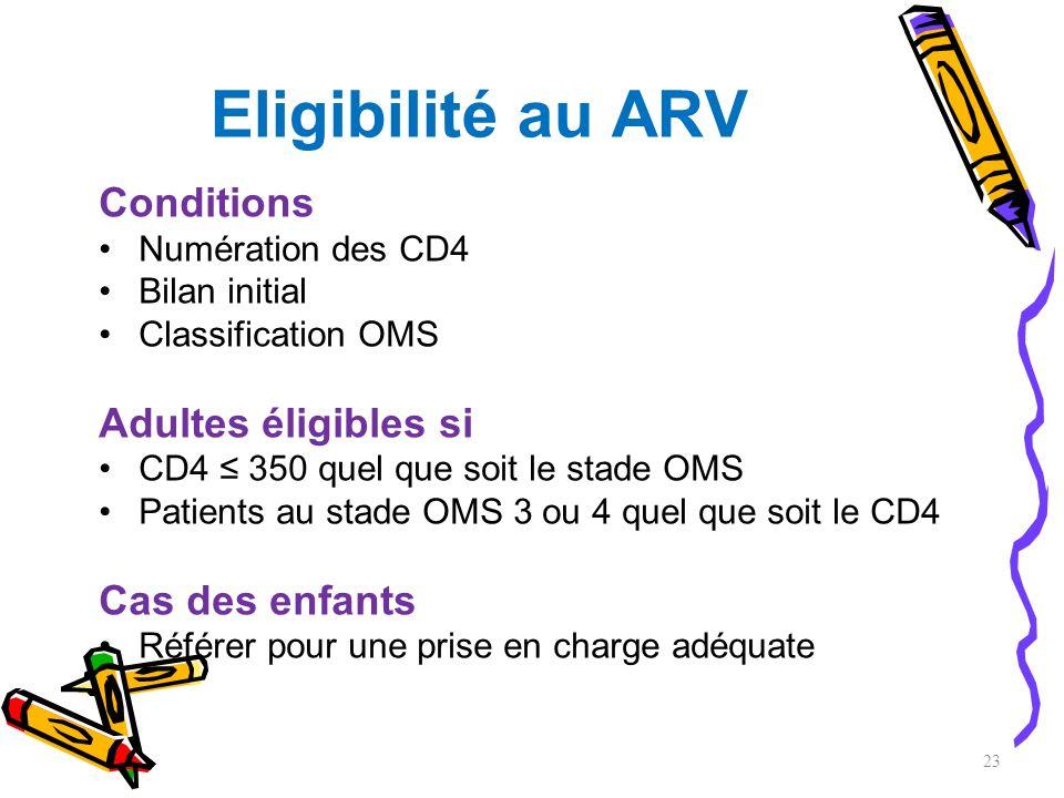 Eligibilité au ARV Conditions Adultes éligibles si Cas des enfants