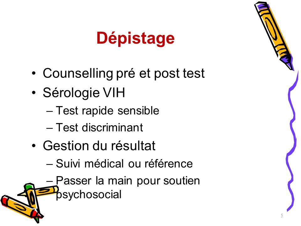 Dépistage Counselling pré et post test Sérologie VIH