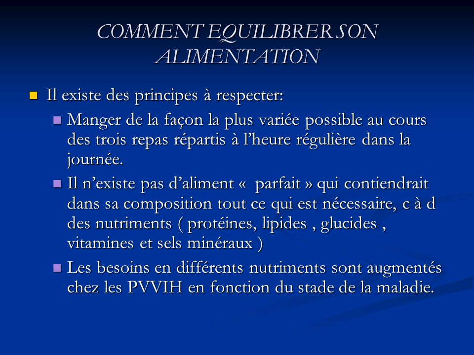 COMMENT EQUILIBRER SON ALIMENTATION