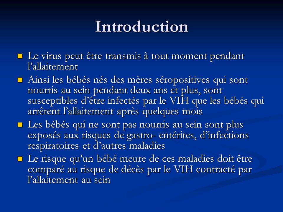 IntroductionLe virus peut être transmis à tout moment pendant l'allaitement.