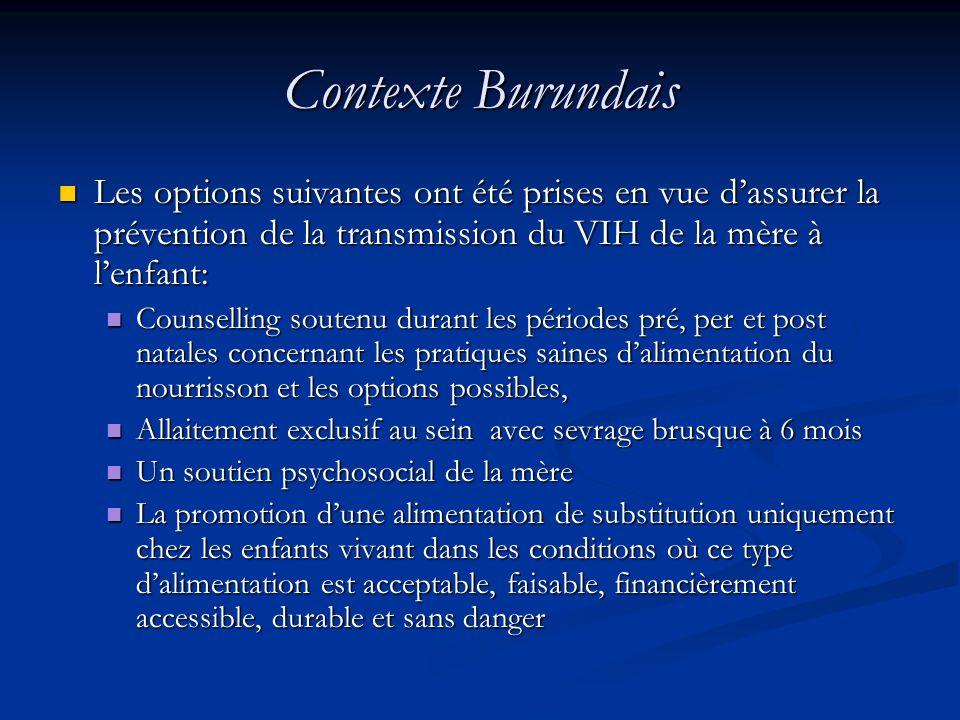 Contexte BurundaisLes options suivantes ont été prises en vue d'assurer la prévention de la transmission du VIH de la mère à l'enfant: