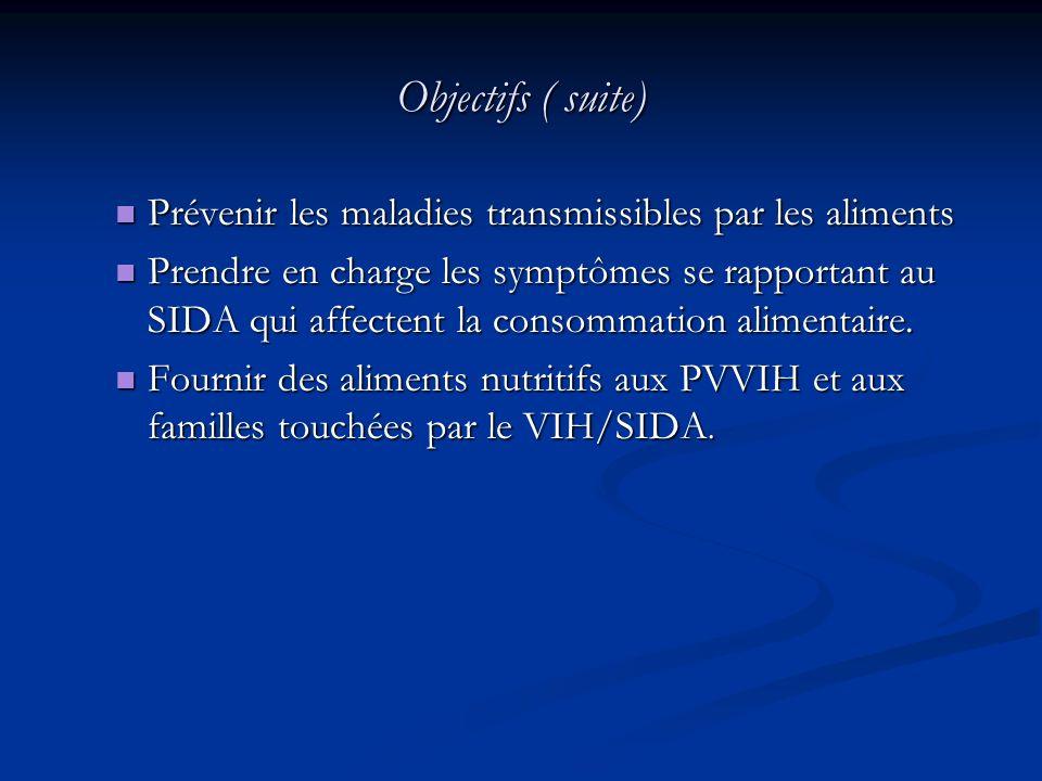 Objectifs ( suite) Prévenir les maladies transmissibles par les aliments.