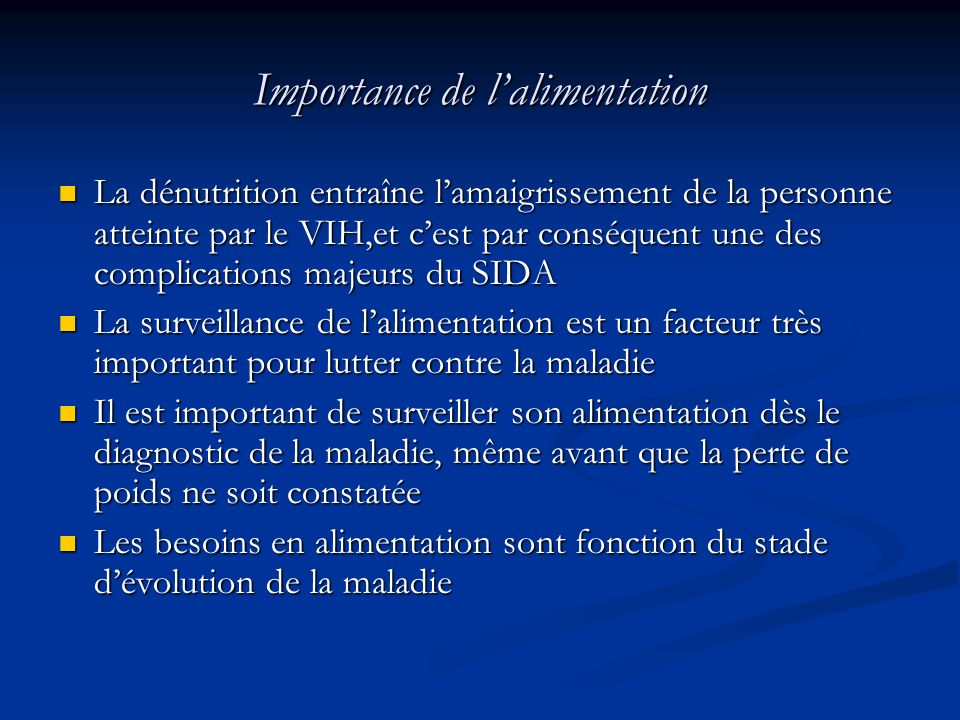 Importance de l'alimentation