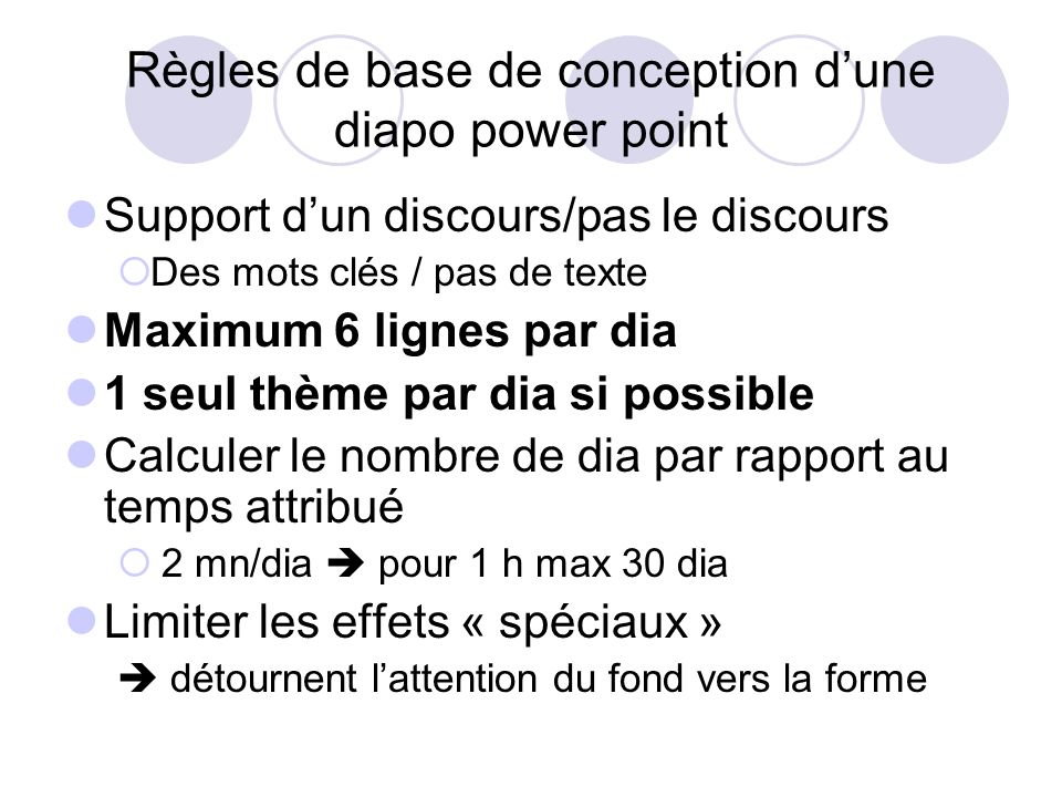 Règles de base de conception d'une diapo power point