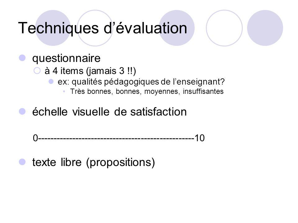 Techniques d'évaluation