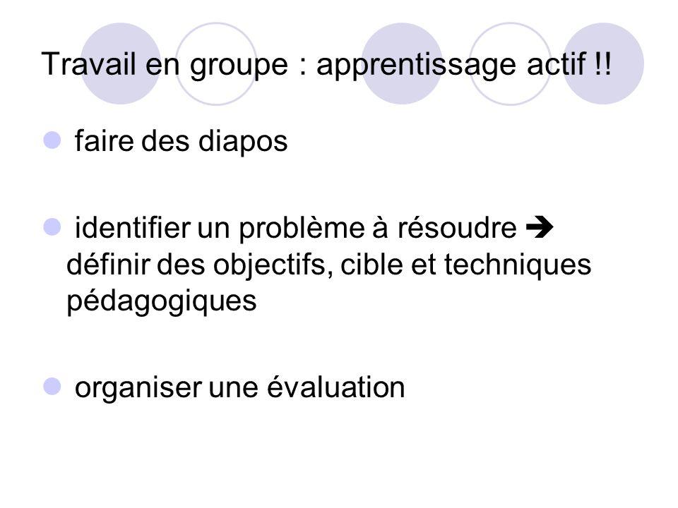 Travail en groupe : apprentissage actif !!