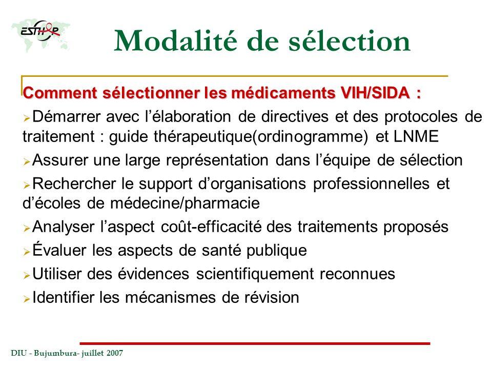 Modalité de sélection Comment sélectionner les médicaments VIH/SIDA :