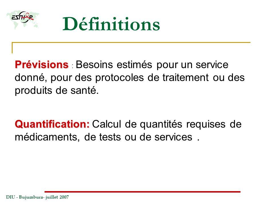 Définitions Prévisions : Besoins estimés pour un service donné, pour des protocoles de traitement ou des produits de santé.