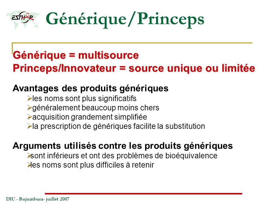 Générique/Princeps Générique = multisource