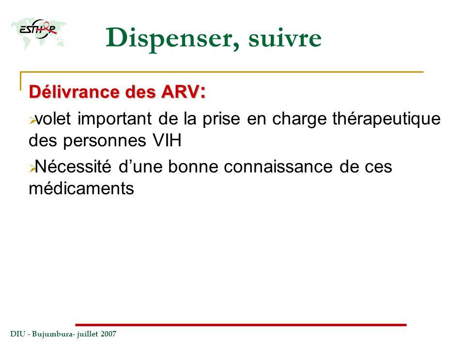 Dispenser, suivre Délivrance des ARV: