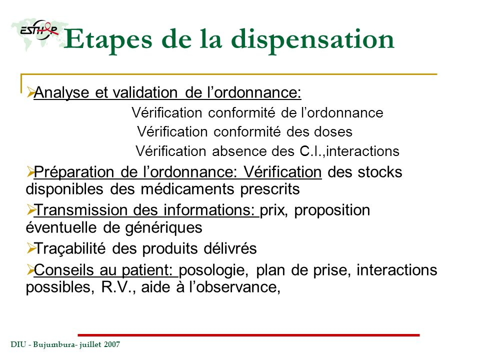 Etapes de la dispensation