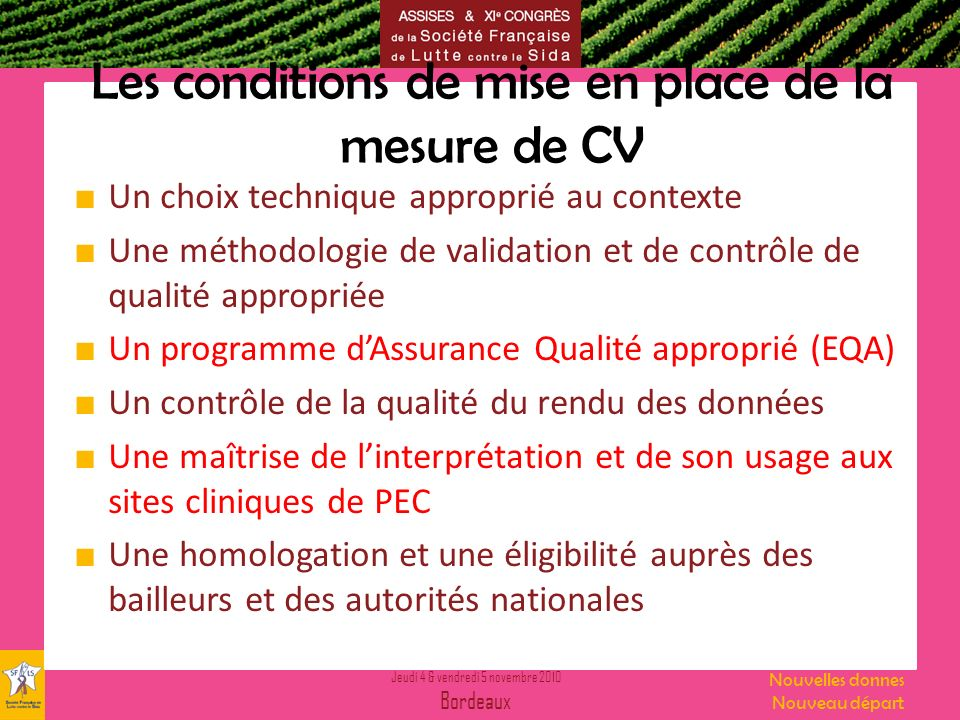Les conditions de mise en place de la mesure de CV