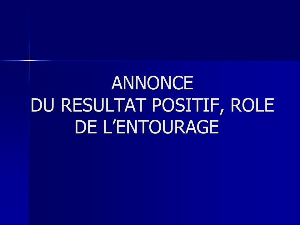 ANNONCE DU RESULTAT POSITIF, ROLE DE L'ENTOURAGE