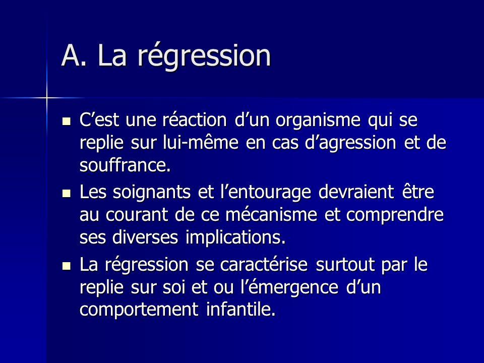 A. La régression C'est une réaction d'un organisme qui se replie sur lui-même en cas d'agression et de souffrance.