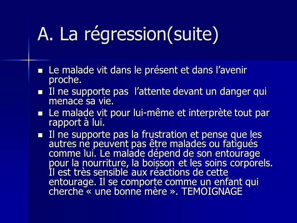 A. La régression(suite)