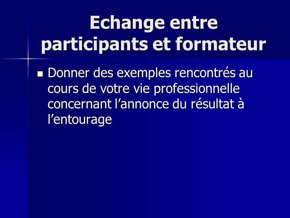 Echange entre participants et formateur