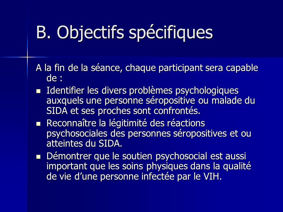 B. Objectifs spécifiques