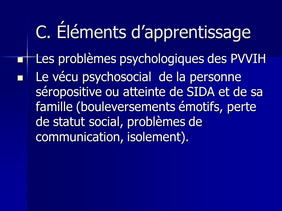 C. Éléments d'apprentissage