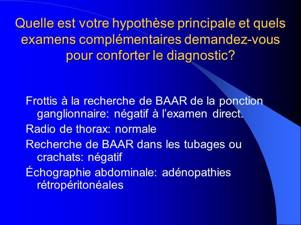 Quelle est votre hypothèse principale et quels examens complémentaires demandez-vous pour conforter le diagnostic