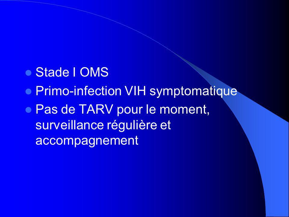 Stade I OMS Primo-infection VIH symptomatique.