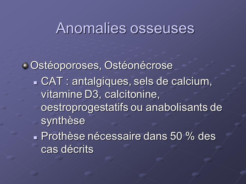 Anomalies osseuses Ostéoporoses, Ostéonécrose