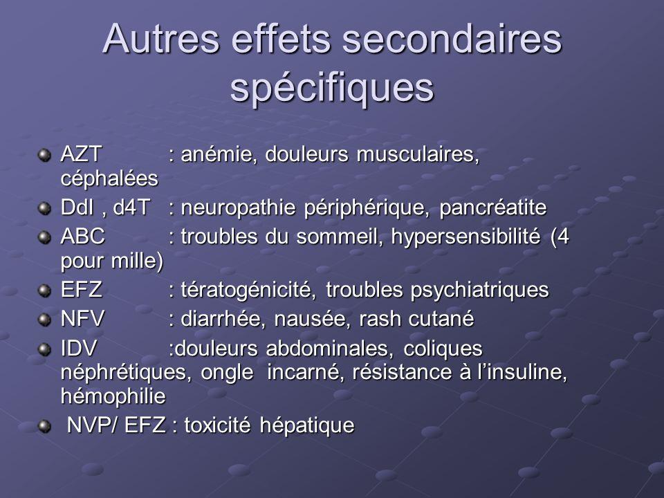 Autres effets secondaires spécifiques