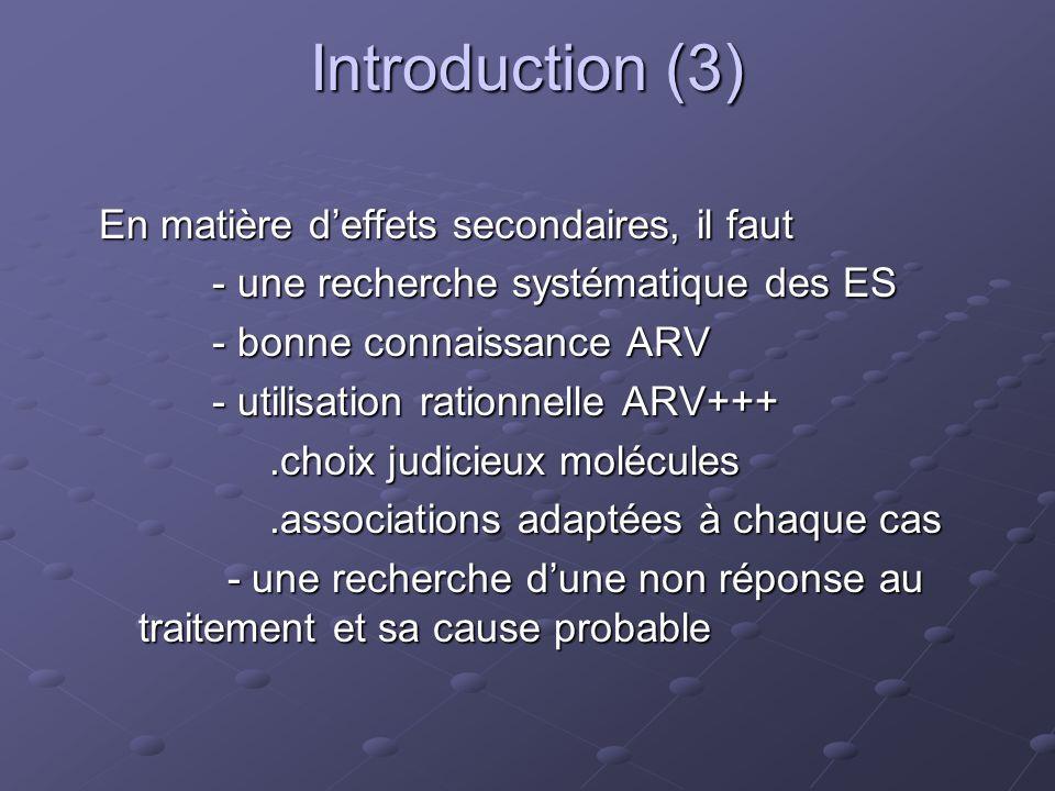Introduction (3) En matière d'effets secondaires, il faut