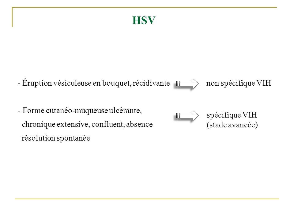 HSV - Éruption vésiculeuse en bouquet, récidivante non spécifique VIH