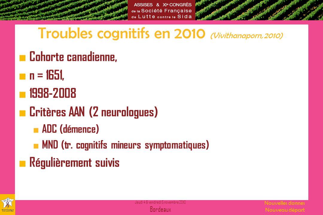 Troubles cognitifs en 2010 (Vivithanaporn, 2010)