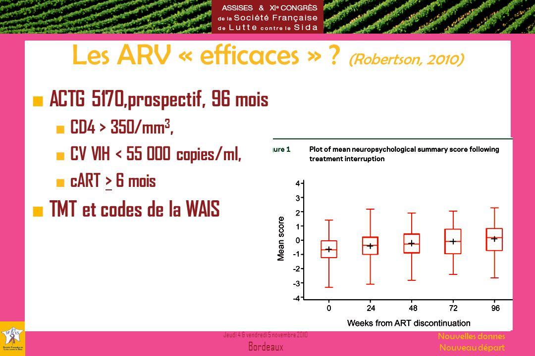 Les ARV « efficaces » (Robertson, 2010)