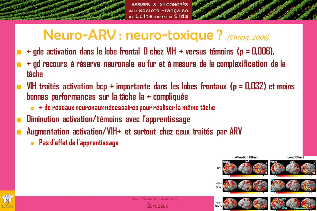 Neuro-ARV : neuro-toxique (Chang, 2008)