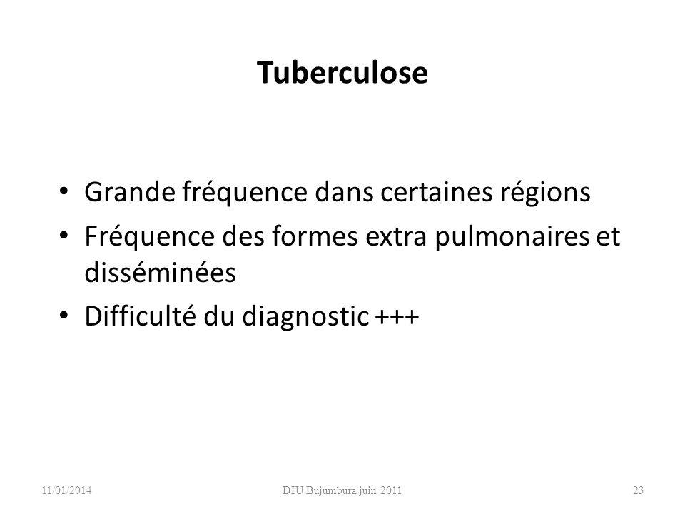 Tuberculose Grande fréquence dans certaines régions