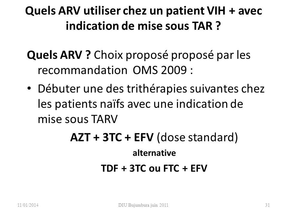 AZT + 3TC + EFV (dose standard)