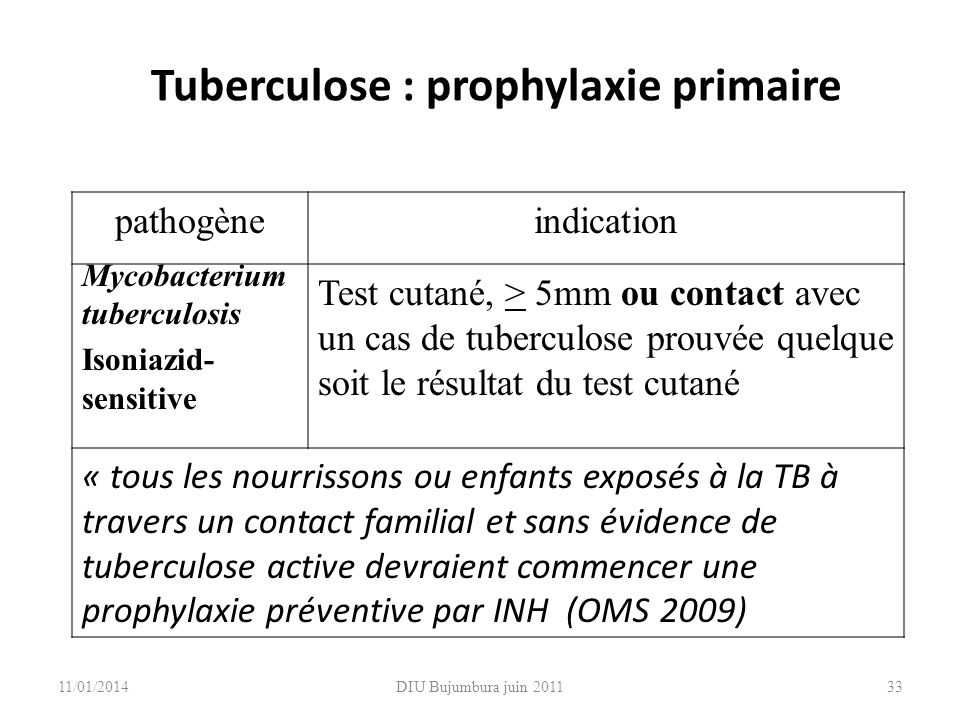 Tuberculose : prophylaxie primaire